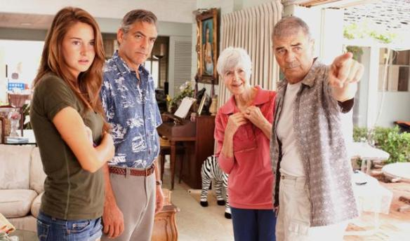 still-of-george-clooney,-robert-forster,-shailene-woodley-and-barbara-l.-southern-in-the-descendants