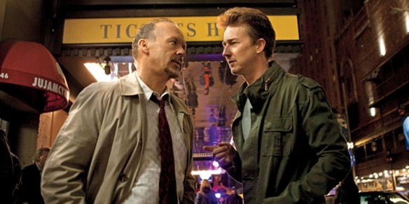 "BIRDMAN (2014)Michael Keaton as ""Riggan"" and Edward Norton as ""Mark."""